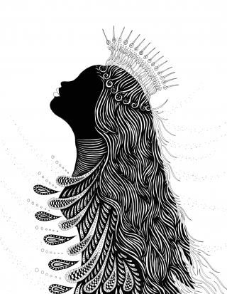Detailed Beautiful woman with long hair and crown