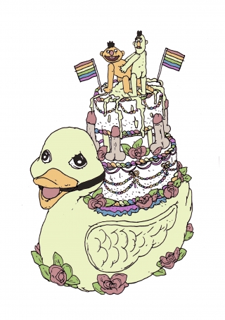 A parody of a cake for gay males showing bert and ernie shagging.jpg
