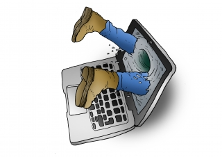 A person gets sucked into their laptop screen from too much social media.jpg