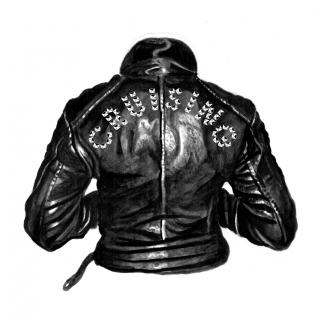 The back of a punk leather jacket
