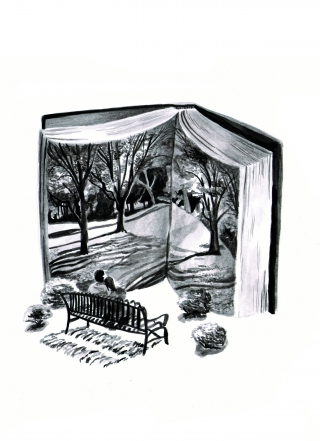 Couple in love reading a large book in the park on a bench