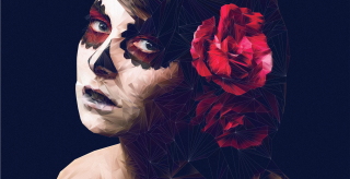 Day of the Dead Low Poly Portrait