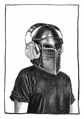 Person wearing helmet and headphones to protect hearing