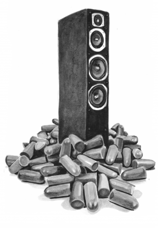 A giant speaker coming out of a pile of earplugs