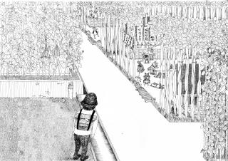 A boy walking in gardens