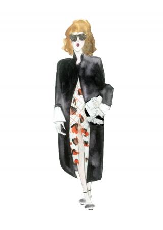A stylish girl wearing black coat during Paris fashion week