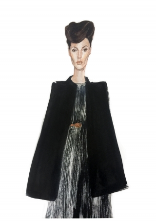 A stylish woman wearing black Saint Laurent coat