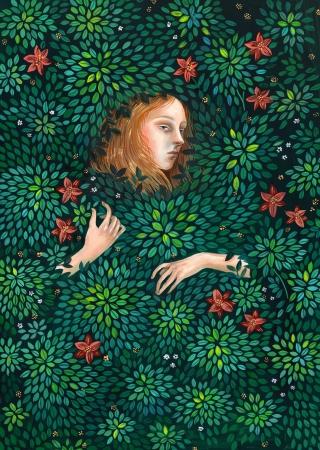 Dark forest girl vanishing in bush of flowers.jpg