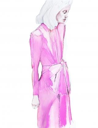 Woman wearing pink Gucci dress
