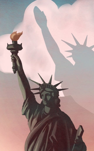 What's happen to America- The Liberty statue reveal a shadow in the sky of a nazi salute, abut the racist movement going on in USA.jpg