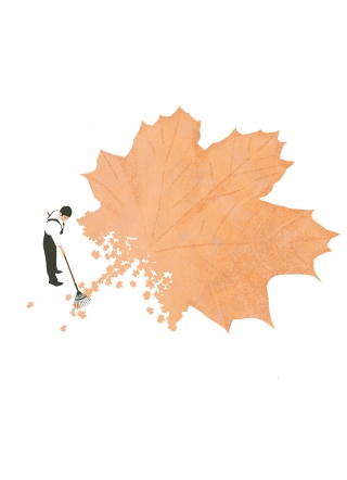 Cleaning leaves in autumn