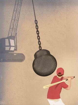 Th hazard optimism - A man ready to hit a huge destruction ball with a baseball ball