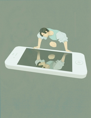 Social Media Narcissism -  A me looking himself in a huge smartphone as in a mirror, is a reinterpretation of a famous Caravaggio painting.jpg