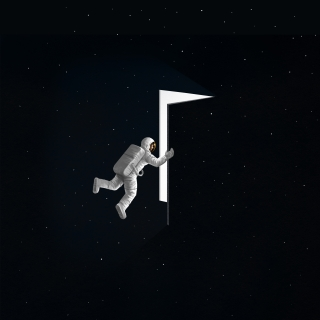 At the edge of Universe- Astronaut in the cosmic space opening a door, exploring the universe