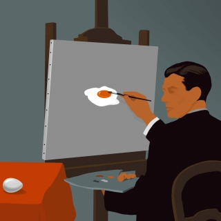Painter in the studio painting an egg on the canvas
