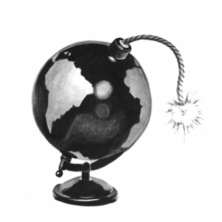 The world as a globe bomb with a lit fuse