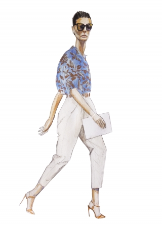 A stylish woman walking, during a fashion week.