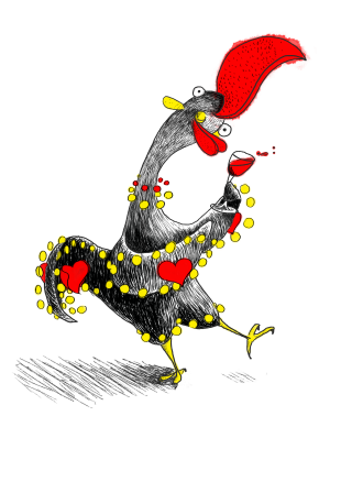 Rooster Barselos, falk Portugal character, dances and drinks wine.png