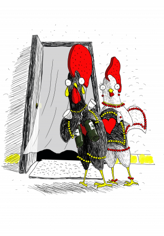 Rooster Barselos, the Falk Portugal character, and his girlfriend are going to drink wine.png