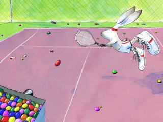 Easter bunny plays tennis by easter eggs