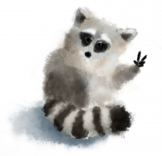 Fluffy raccoon says peace for everyone.jpg