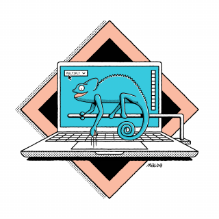 A turqoise chameleon sitting on a laptop using photoshop. .png