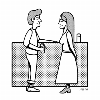 A smiling man and a woman standing next to a bar drinking gin&tonic.png