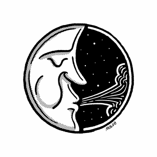 A sleeping moon on a night-sky with stars, blowing air.png