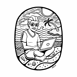 A digital nomad sitting by the sea on a beach with a laptop.png
