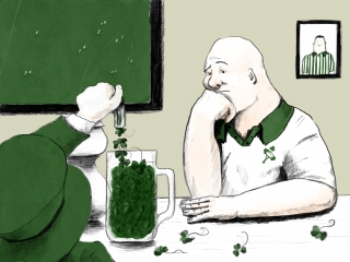 Leprechaun pours the clover instead the beer for sad man in the sport bar .jpg