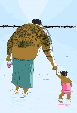 Big father bathes his little daughter in the lake.jpg