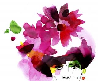 Stylish woman wearing a pink flower wreath.jpg