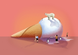 Melting ice cream representing climate change.jpg