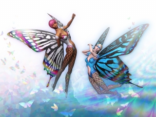 Two nymphs with butterfly wings flying in the air. .jpg