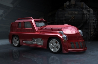 A high-power muscle car that looks like a locomotive.