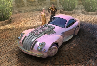 A man introducing his favorite custom-built pink coupe to his girlfriend.