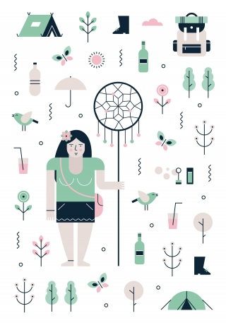 Festival girl with party, camping and nature icons.jpg