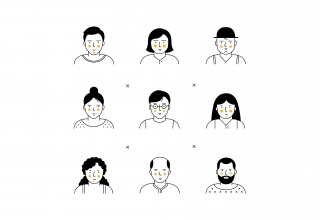 Different man and woman faces