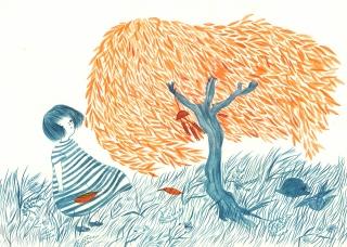 Little girl watching orange leaves blowing in the wind.jpg