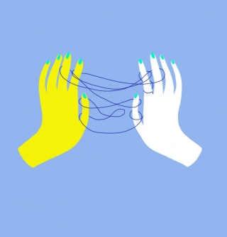 Yellow and white hand playing  a string game with a blue string..jpg