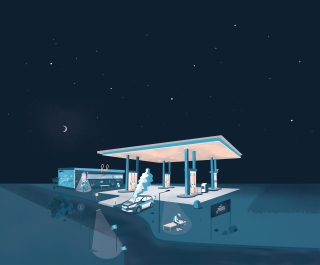Fuel gas station in the night