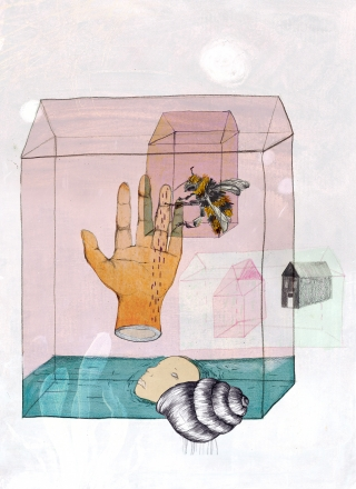 A bee on a hand in a house with water and a head