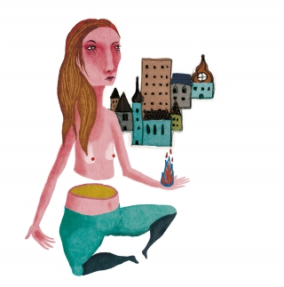 strong girl, meditate in front off a city, girl power .jpg