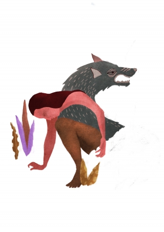 inner wolf, human with wolf and plants, spirit animal.jpg