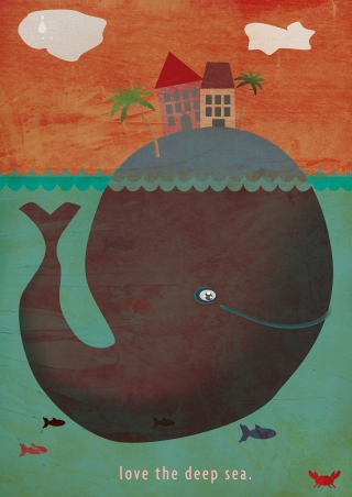 Whale under the sea with island and palms and house