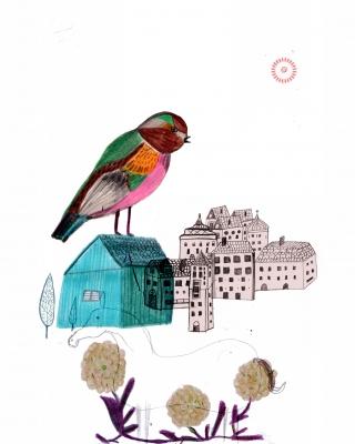 Bird sitting on a birdhouse in springtime.jpg