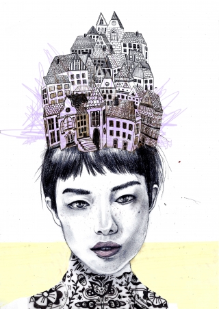 woman with a city on er head and tattoo on her neck.jpg