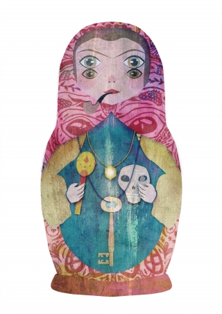 Colorful matryoshka with a pipe, skull an key an four eyes.jpg