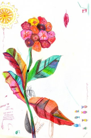 Abstract colorful flower and sun and little fishes.jpg