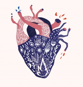 Abstrakt heart with pattern and flowers